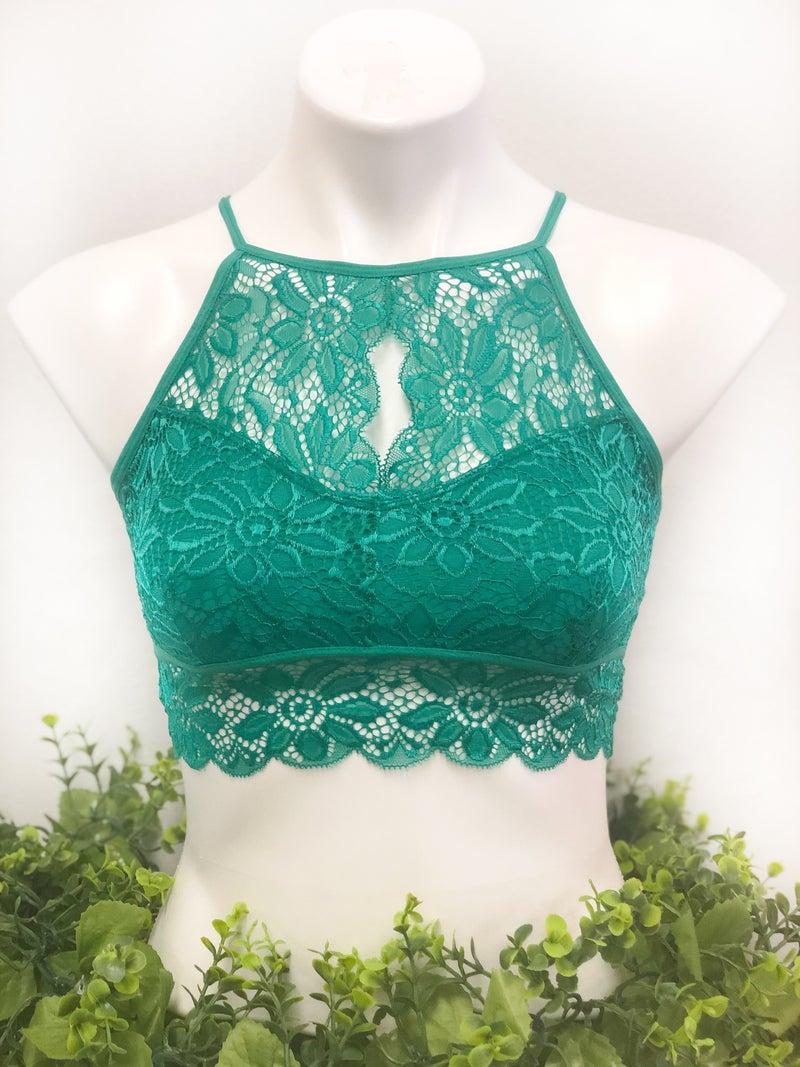 Lace Halter Bralette Green *Final Sale*