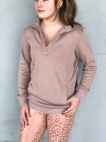 Double Up Half Zip Pullover Dusty Rose