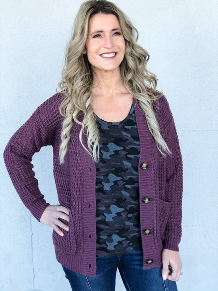 All Day Plum Cardigan