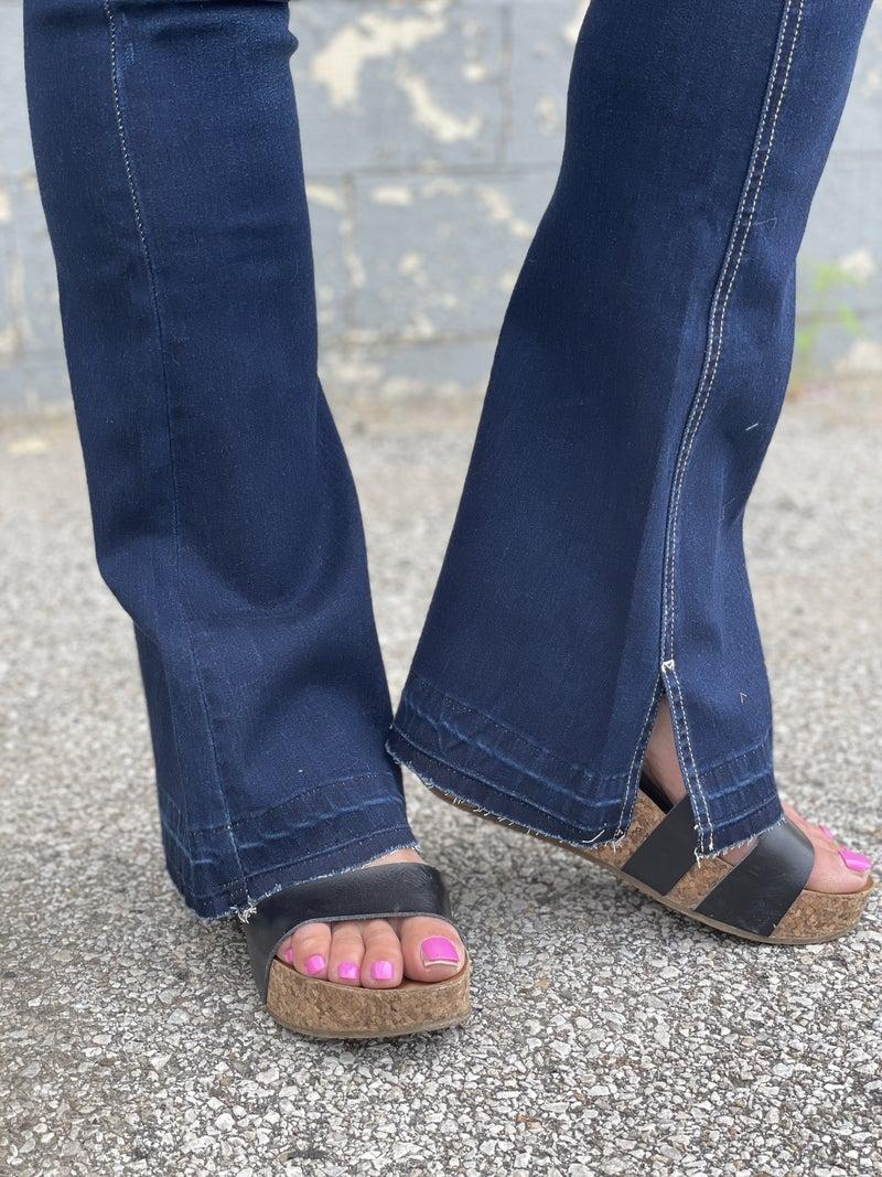 KanCan Kimber Dark Flare Slit Jeans 15D