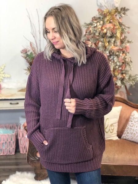 Curvy Cuddles Eggplant Sweater Hoodie *Final Sale*