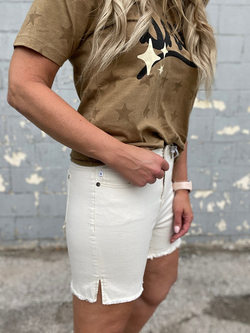 Judy Blue Ecru Side Slit Shorts 89R