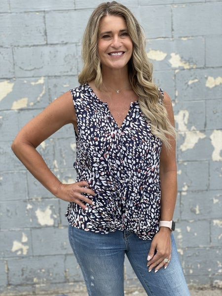 Curvy Storm  Patterned Sleeveless Top