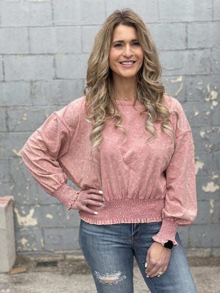 Washed Mauve Peppy Top