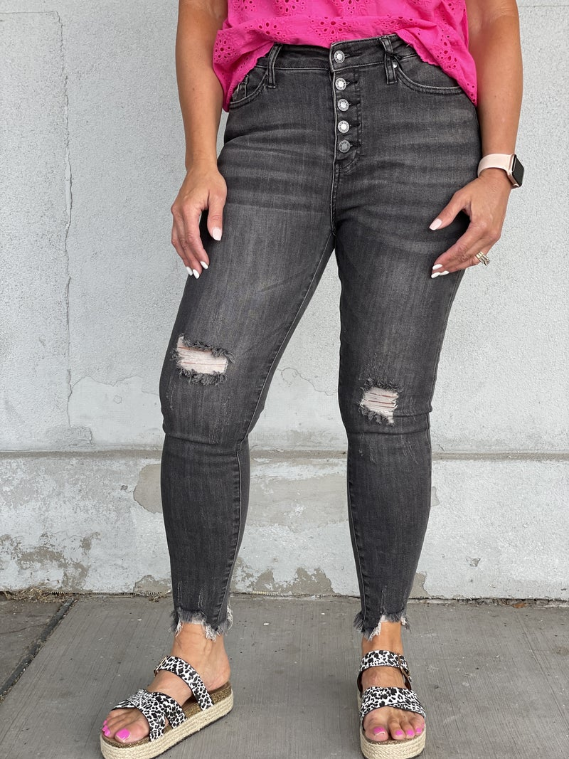 Judy Blue Lila Button Front Washed Black Jeans 29B