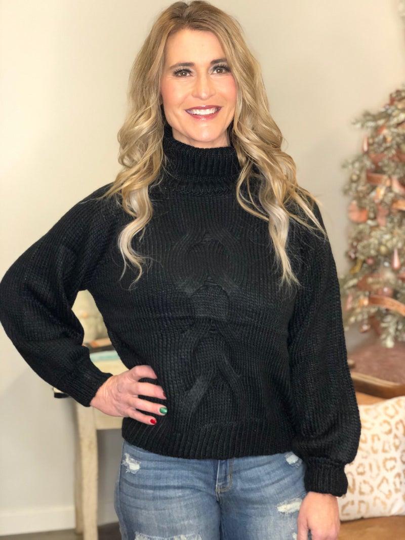 Black Twist Turtleneck Sweater *Final Sale*