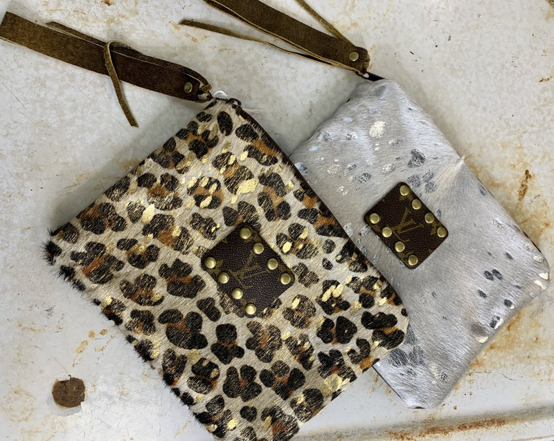 Upcycled Hair on Hide Zip Clutch