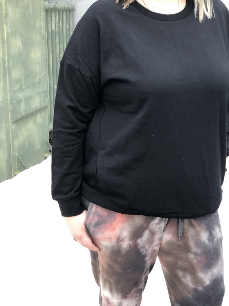 Curvy Black Smoke Pocket Sweatshirt