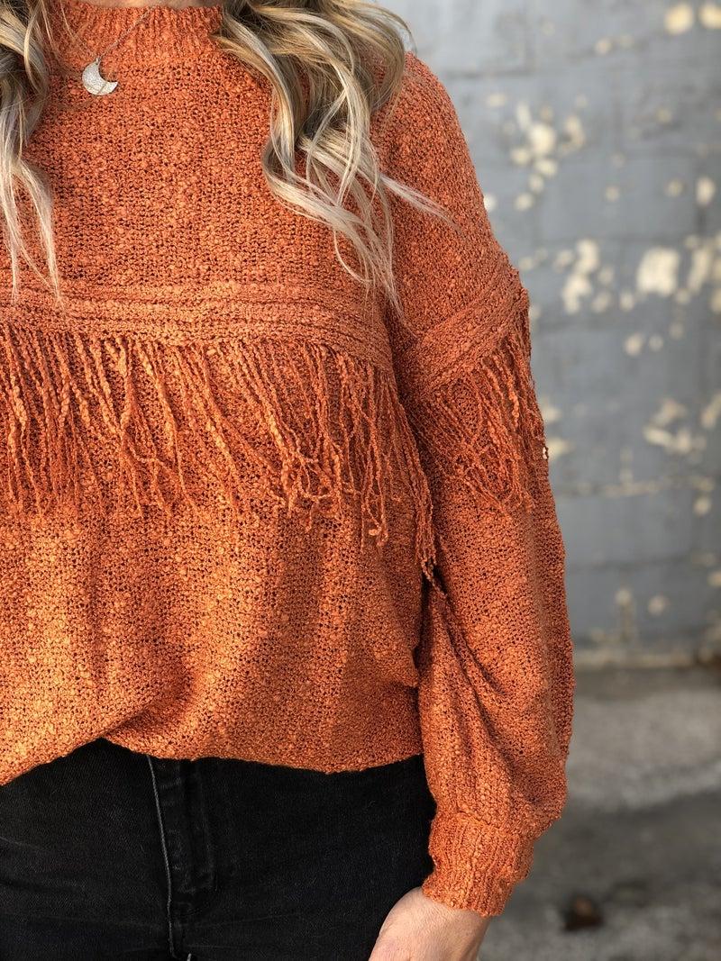 Western Twist Fringe Sweater