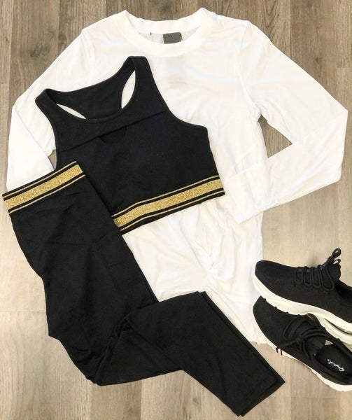 Gold Trim Black Leggings