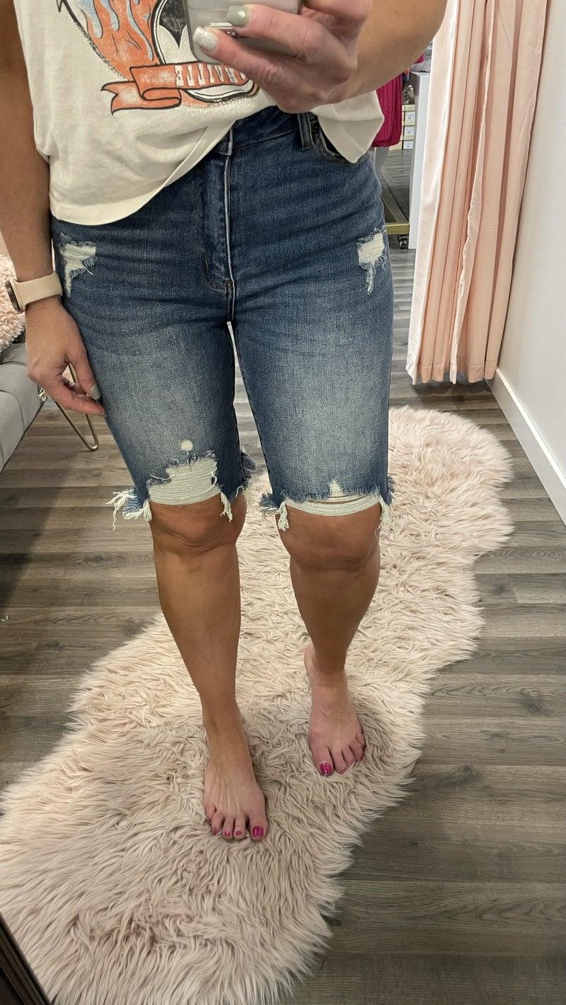 Risen Ambre Bermuda Distressed Shorts 303