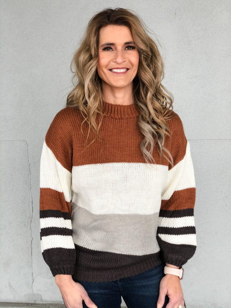 Camel Combo Color Block Sweater