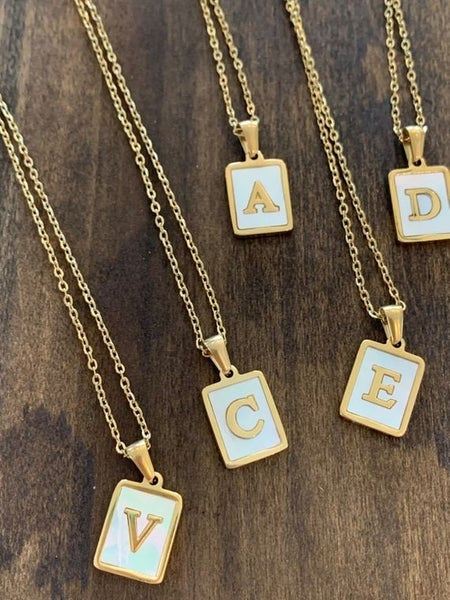 White Pearl Initial Square Necklace