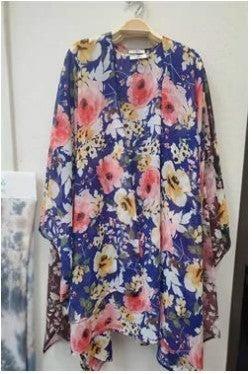 Floral Bliss Kimono - Royal Blue - PREORDER