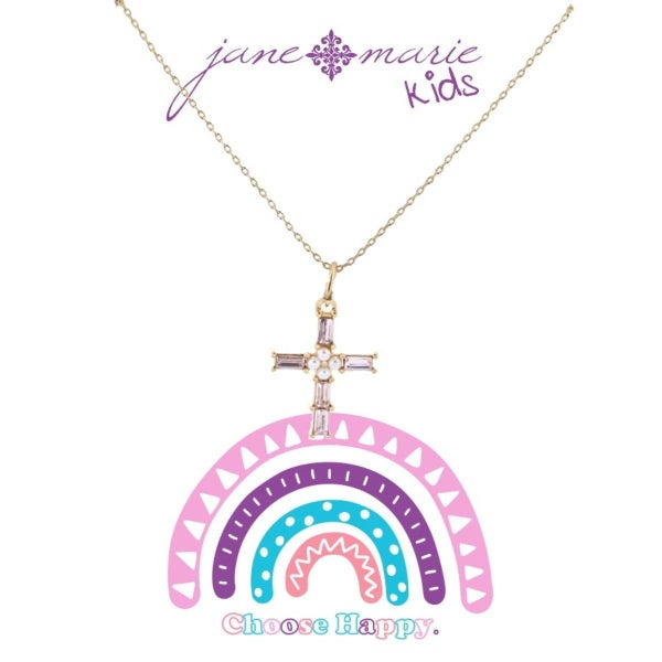 Soft Pink Czech Stone Cross with Pearl Center Necklace