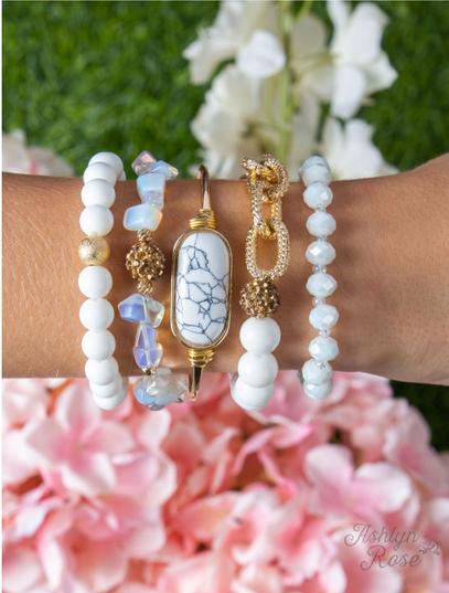 Pearly Beauty Bracelet Set, White