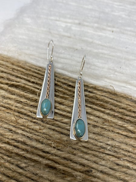 Sterling Turquoise Trapezoid Earring