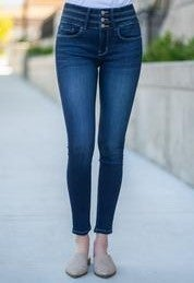 High Rise Triple Waistband Ankle Skinny By Flying Monkey