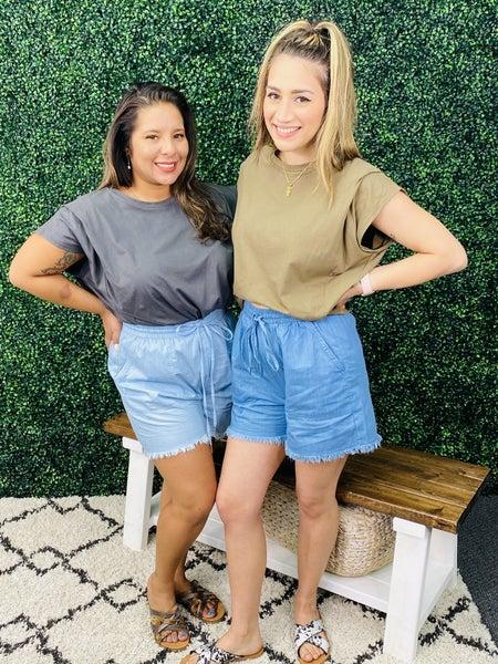 Cotton Bleu Frayed Denim Shorts