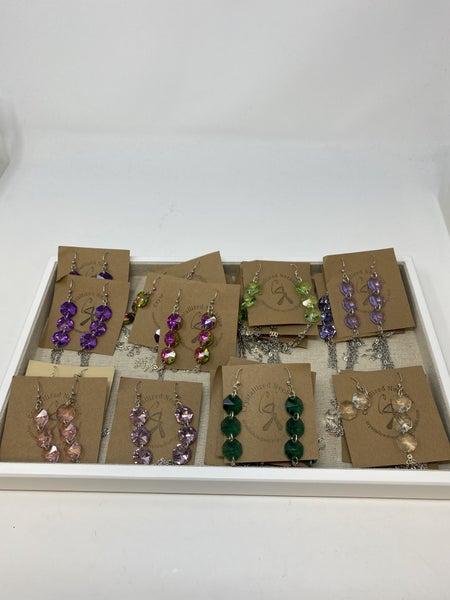 Crystallized Necktizes Crystal Silver Tassel Earrings