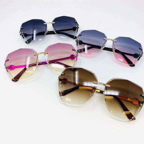 Foxy Rhinestone Rimless Sunglasses