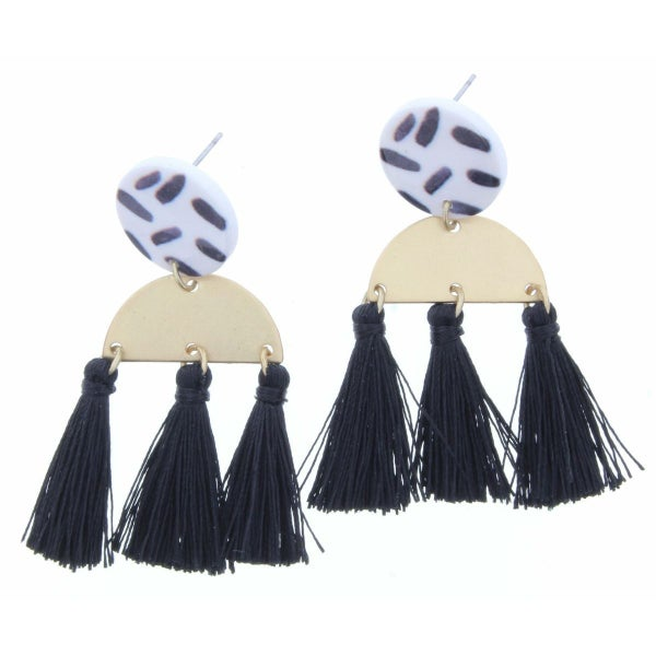 Gold Half Circle With Black Fringe Earrings