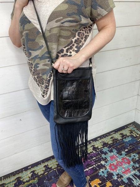 Real Leather Black Croc Crossbody Bag