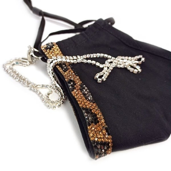 Designer Collection Golden Leopard Face Covering with Chain