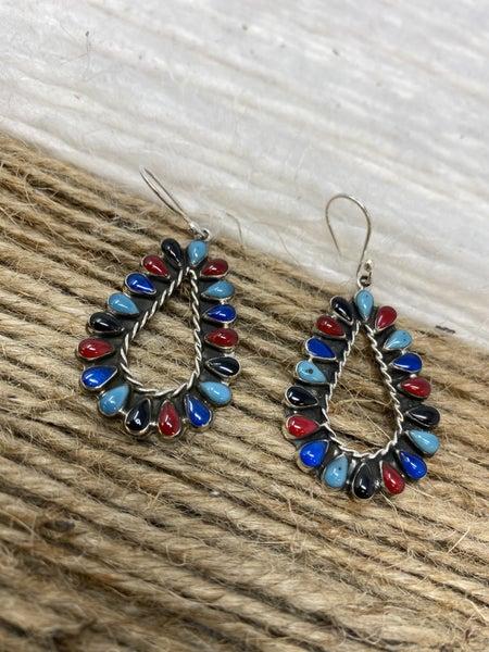 Sterling Silver Multi Stone Earrings