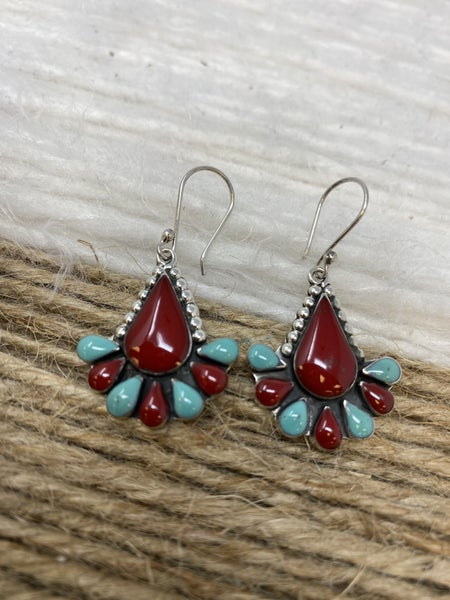 Sterling Silver Teardrop Flower Earrings