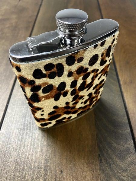 Leopard Leather 6oz. Flask