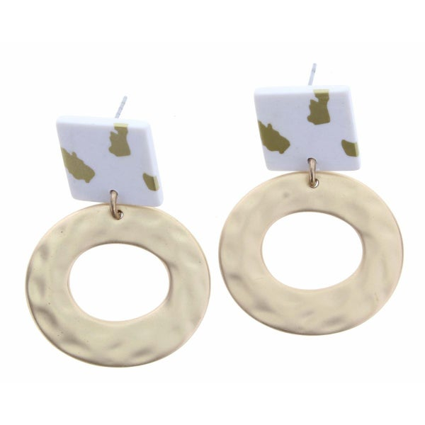 Hammered Gold Circle With Leopard and White Square Earrings