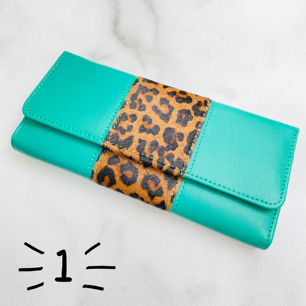 Turquoise Bria Leather And Hair On Hide Wallet