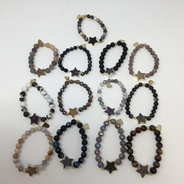 Love Poppy Gold Druzy Star Bracelet