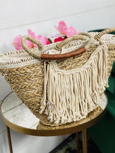 Natural Seagrass Cotton Shoulder Tote