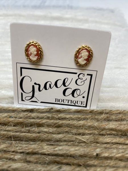 Coral Cameo Earrings