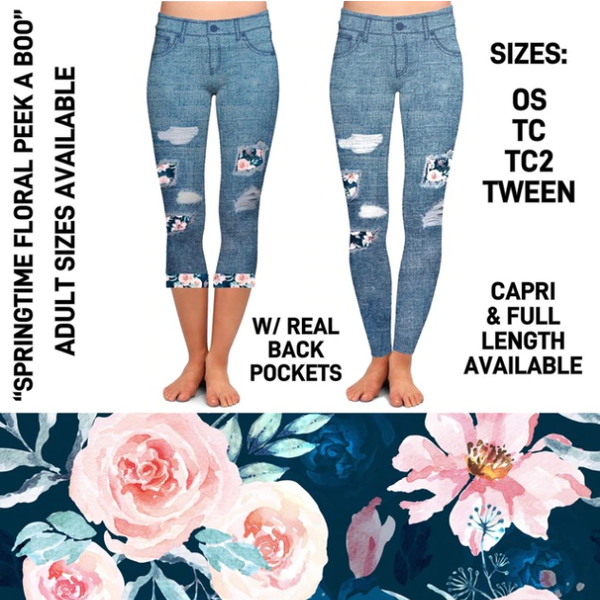 Springtime Floral Peakaboo Capris With Pockets