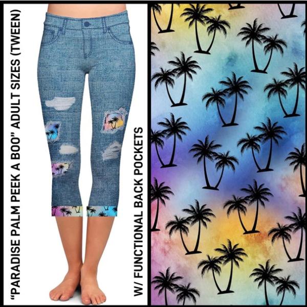 Paradise Palm Peekaboo Capris WIth Pockets