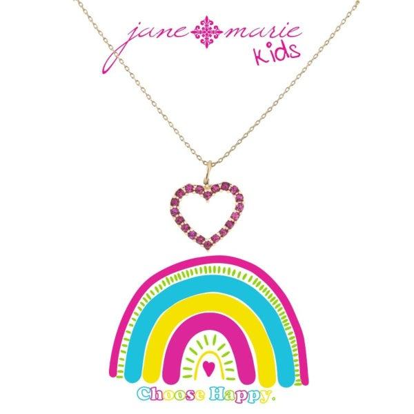 Pink Czech Stone Open Heart Necklace