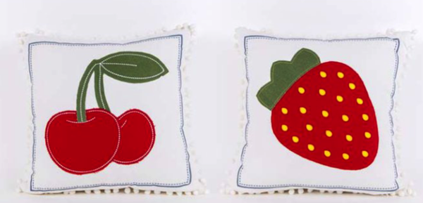 Strawberry Reversible Pillow - Square