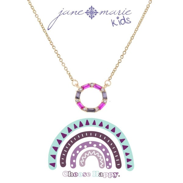 Pink Stone Open Circle Necklace