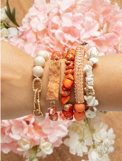 Sunrise Shining Bracelet Set, Orange and Cream