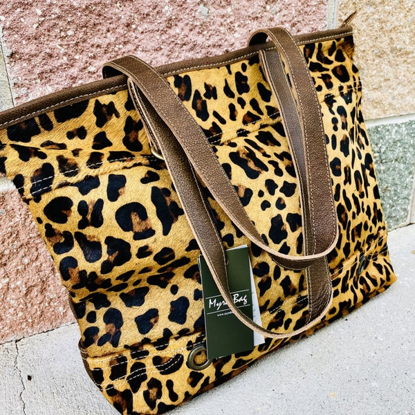 Myra Clinch Leather & Hairon Leopard bag