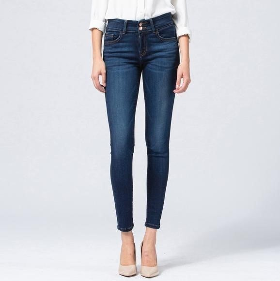 Mid Rise Double Button Super Soft Ankle Skinny By Flying Monkey
