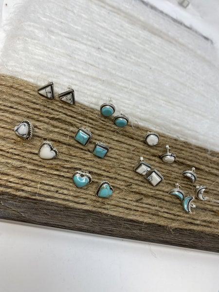 Boho Sterling Stud Earrings