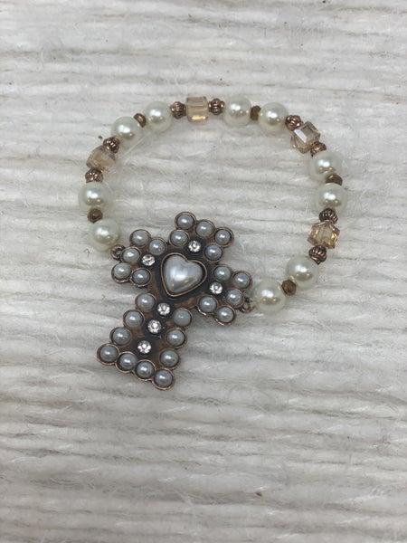 Cross My Heart Pearl Bracelet