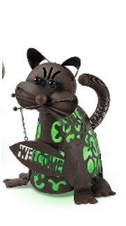"""Solar Lighted Metal """"Welcome"""" Cat"""