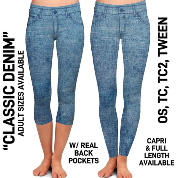 Classic Denim Capris With Pockets