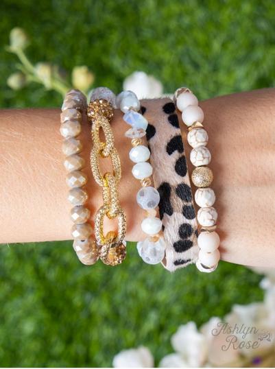 Fight for You Bracelet Set, White/Beige/Leopard - Preorder