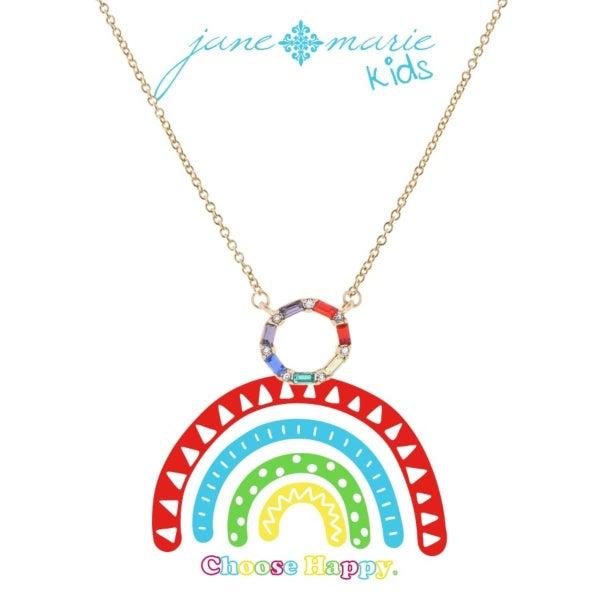 Rainbow Czech Stone Open Circle Necklace